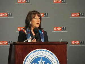 Janiece Longoria during the State of the Port Address before the Greater Houston Partnership last November.